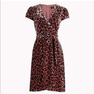 NWT J. Crew Faux-wrap Velvet Dress in Rose Leopard